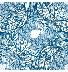 Blue ornate doodle foliage circle seamless pattern vector image