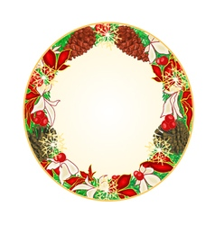 Button circular Christmas Spruce and poinsettia vector image