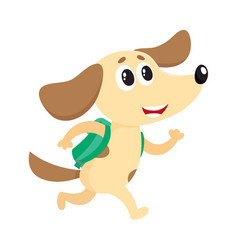 Cute dog puppy student character with backpack vector