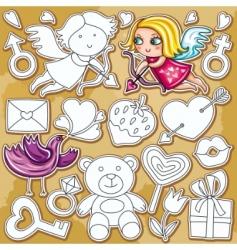 doodle Valentine's day set vector image vector image