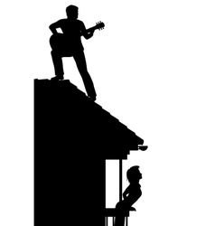 Guitarist on the roof vector image vector image