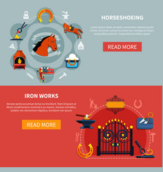 Shoeing horses forgings banners vector