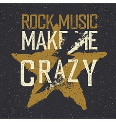 Vintage label with lightning and star Rock music vector image vector image