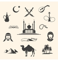 Arabian icons set vector image vector image
