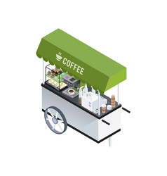 coffee cart isometric composition vector image vector image