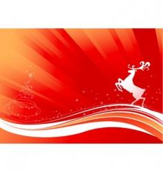 reindeer and shine Christmas tree vector image