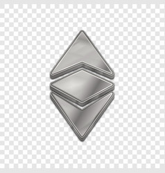 silver ethereum classic 3d style icon vector image vector image