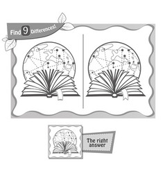 find 9 differences game black reading book vector image vector image