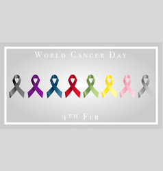 world cancer day with ribbons vector image