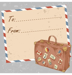 Air mail travel postcard with suitcase vector image vector image