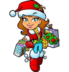 Christmas Shopping Girl vector image vector image