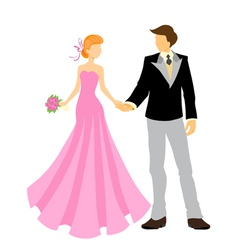 elegant bride and groom vector image