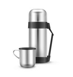 metal thermos flask vector image vector image