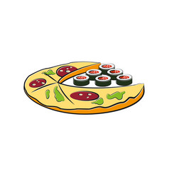 pizza and sushi cartoon vector image