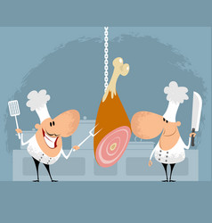 two chefs in kitchen vector image