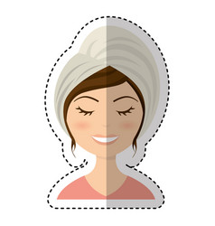woman with towel spa vector image vector image