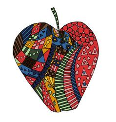 Apple fruit zen tangle and doodle zentangle vector