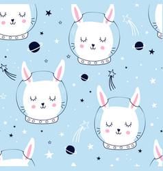 Astronaut bunny seamless pattern vector