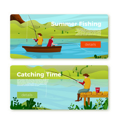 banners set - fishermans on river vector image
