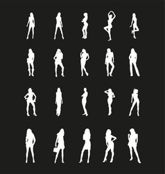 Beautiful Girls Silhouettes vector image