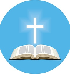 Bible and shining cross concept Icon in blue vector image