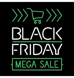 Black friday sale glowing text line poster vector image