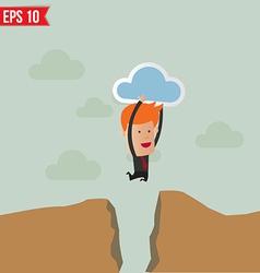 Business man jump across hill - - eps10 vector