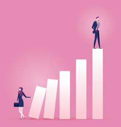 Businesswoman pushing carreer ladder vector