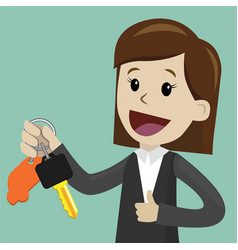 car sale businesswoman or manager is holding a vector image