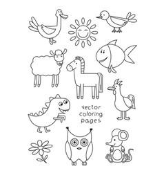 cartoon animals coloring book vector image