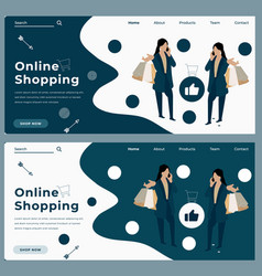 Cartoon trendy online shopping web banner vector