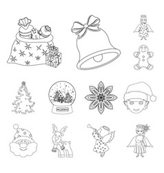 christmas attributes and accessories outline icons vector image