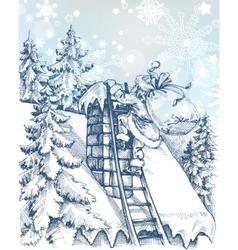 Christmas scene santa climbing a chimney vector