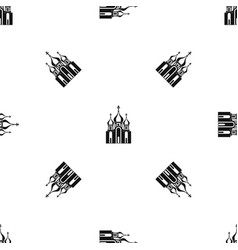 church building pattern seamless black vector image
