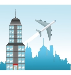City and airplane to travel design vector