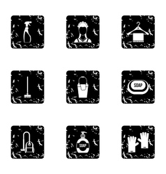 Cleaning icons set grunge style vector