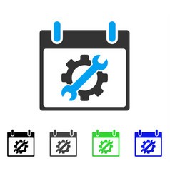 Configuration tools calendar day flat icon vector