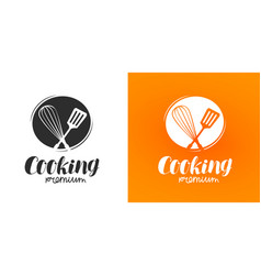 Cooking logo or label cuisine cookery icon vector