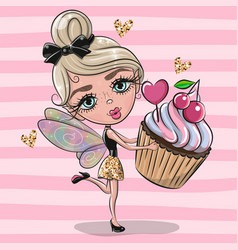 Cute cartoon fairy girl with cupcake on a pink vector