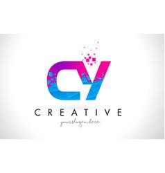 cy c y letter logo with shattered broken blue vector image