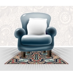 Dark blue leather chair with a white pillow in vector