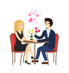 dating couple in evening gowns sitting at table vector image
