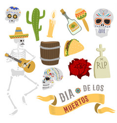 Dia de los muertos mexica dead day celebration vector