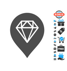 Diamond map marker icon with free bonus vector