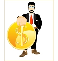 Dollar in hand vector image