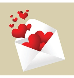 Envelope with hearts coming out vector