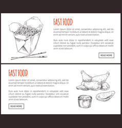 Fastfood posters noodles set vector