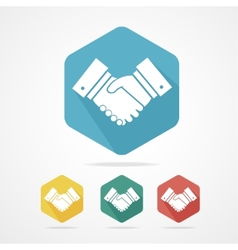 Flat business icon set handshake vector