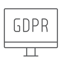 gdpr monitor thin line icon computer and screen vector image
