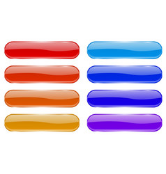 glass buttons shiny colored oval 3d icons with vector image